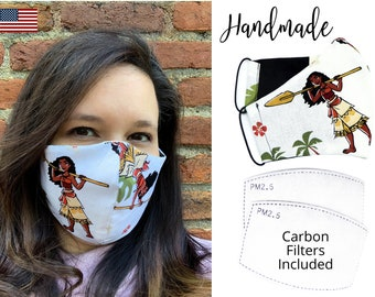 Moana Cotton Fabric Disney Inspired Face Mask with adjustable elastic tie, for Adult Men Women and children, handmade carbon filter pocket