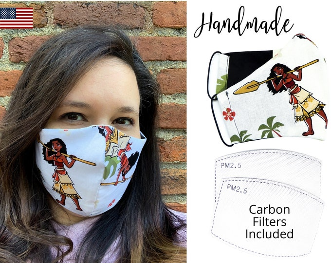 Moana Cotton Fabric Disney Inspired Face Mask with elastic tie, for Adult Men Women and children, handmade with carbon filter pocket