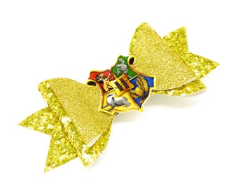 House Symbol Harry Potter Inspired Gold Glitter Hair Bow, Griffindor, Ravenclaw, Hufflepuff, and Slytherin