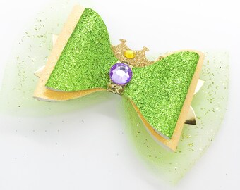 Tiana Disney Inspired Princess & The Frog Glitter Hair Bow