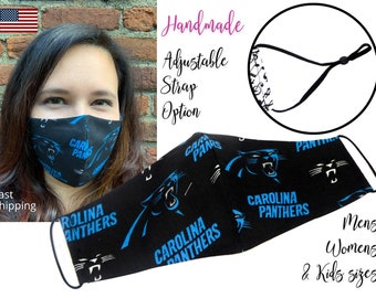 North Carolina Panthers Football Cotton Fabric Face Mask with adjustable elastic tie, for Adult Men Women & children, handmade filter pocket