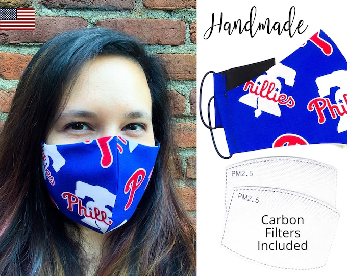 Philadelphia Phillies Baseball Cotton Fabric Face Mask & elastic tie, for Adult Men Women and children, handmade with carbon filter pocket