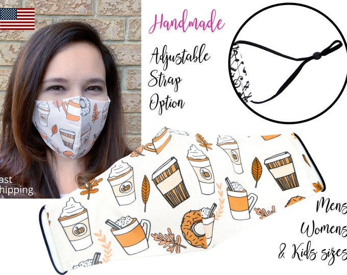 Featured listing image: LIMITED TIME Only! Pumpkin Spice Latte PSL Cotton Fabric Face Mask with adjustable ears, for Men Women & children, handmade filter pocket