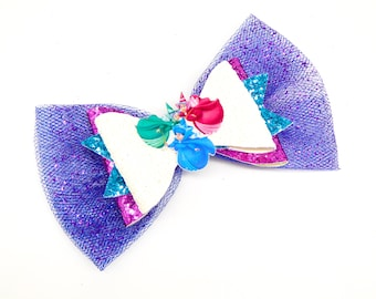 Fairy Godmothers Disney Inspired Sleeping Beauty White Glitter and Tulle Hair Bow