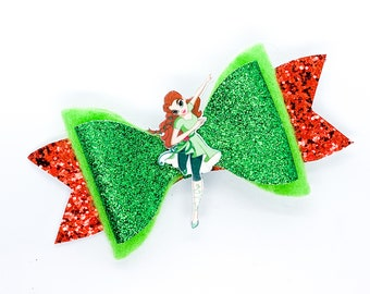 Poison Ivy DC Super Hero Girls Inspired Green Chunky Glitter Hair Bow