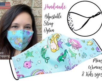 Mermaid Cartoon Fitted Fabric Face Mask with adjustable ear straps, Adult Woman Men and children sizes, handmade with carbon filter pocket