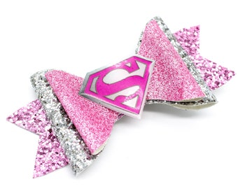 Pink Supergirl DC Comics Inspired Pink Chunky Glitter Hair Bow Superman