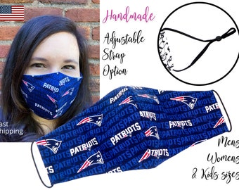 New England Patriots Football Fitted Fabric Face Mask adjustable elastic tie, for Adult Men Women & children, handmade with filter pocket