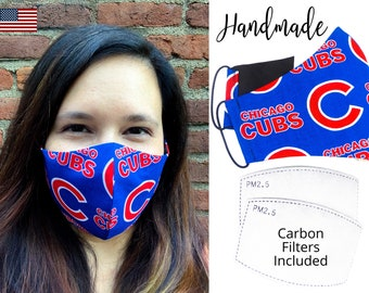 Chicago Cubs Baseball Cotton Fabric Face Mask & elastic tie, for Adult Men Women and children, handmade with carbon filter pocket