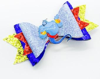 Genie Aladdin Disney Inspired Princess Glitter Hair Bow