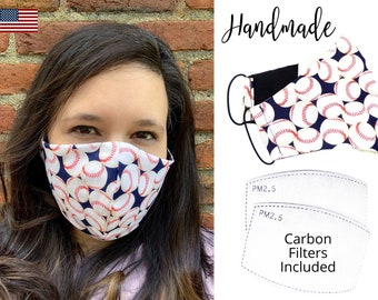 Baseball Cotton Fabric Face Mask with adjustable elastic tie, for Adult Men Women and children, handmade with carbon filter pocket