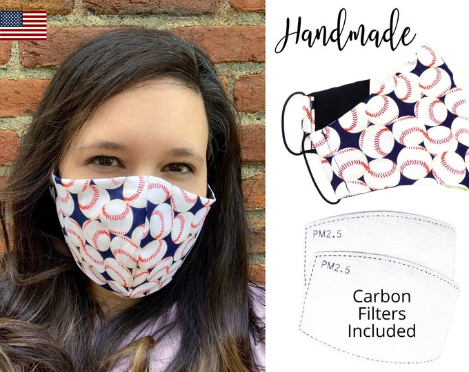 Baseball Cotton Fabric Face Mask with elastic tie, for Adult Men Women and children, handmade with carbon filter pocket