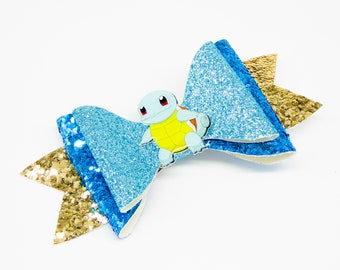 Squirtle Pokemon Nintendo Trading Card Game Inspired Teal Chunky Glitter Leather Hair Bow
