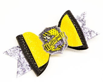 Hufflepuff House Harry Potter Glitter Hair Bow