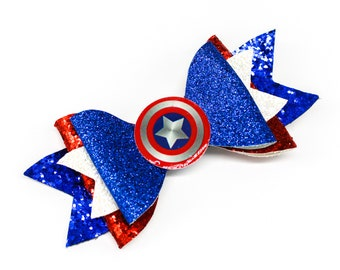 Captain America Marvel Comics Superhero Avengers Inspired Blue Chunky Glitter Hair Bow