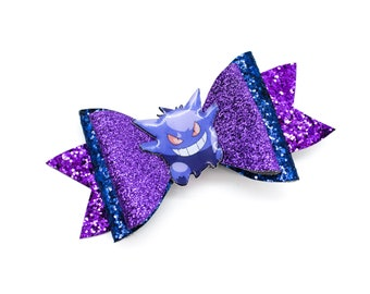 Gengar Pokemon Trading Card Game Inspired Purple Chunky Glitter Leather Hair Bow