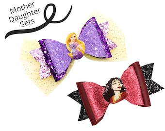 MOTHER AND DAUGHTER Rapunzel and Mother Gothel Disney Inspired Princess Set Chunky Glitter and Tulle Hair Bows