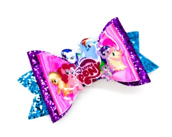 My Little Pony Leather Warner Bros Inspired Pink and Purple Chunky Glitter Hair Bow