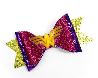 Pink Wonder Woman DC Comics Supehero Inspired Logo Chunky Glitter Hair Bow in Purple and Gold
