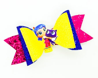 True and Bartelby Netflix Inspired in the Magic Kingdom Raindbow Chunky Glitter Hair Bow
