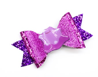 Ditto Pokemon Trading Card Game Inspired Pink Chunky Glitter Leather Hair Bow