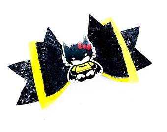 Batman Hello Kitty DC Comics Justice League Inspired Glitter Hair Bow