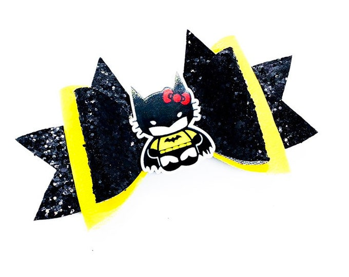 Batman Hello Kitty DC Comics Justice League Inspired Chunky Glitter Hair Bow