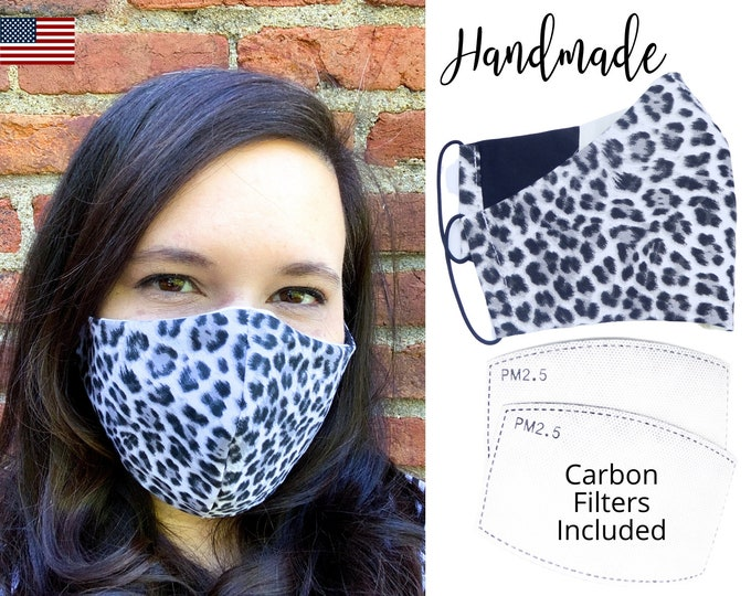 White Black Cheetah Animal Print Cotton Fabric Face Mask with adjustable elastic tie, for Adult Men Women & children, handmade filter pocket