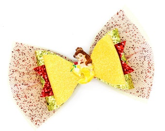Belle Inspired Princess Beauty and the Beast Yellow Chunky Fine Glitter and Tulle Hair Bow