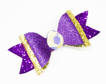 Purple Pokemon Egg Trading Card Game Inspired Purple Chunky Glitter Leather Hair Bow