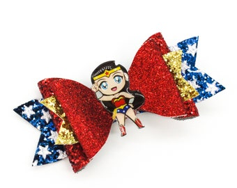 Wonder Woman Chibi Supehero Inspired Chunky Glitter Hair Bow in Red and Blue Stars