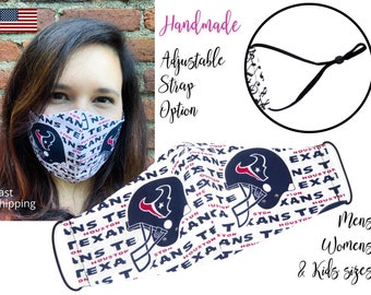 Houston Texans Fitted Fabric Football Face Mask with elastic tie, for Adult Men Women and children, handmade with carbon filter pocket
