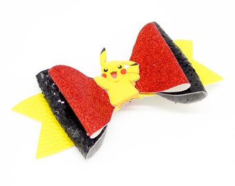 Pikachu Pokemon Nintendo Trading Card Game Inspired Red Chunky Glitter Leather Hair Bow