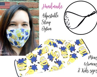 Yellow Monster Minion Fitted Fabric Face Mask with adjustable ear straps, for Men Women and children, handmade with carbon filter pocket