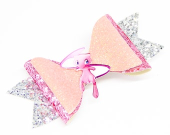 Mew Pokemon Glitter Hair Bow