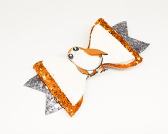Porg Star Wars Inspired Orange Chunky Glitter Hair Bow