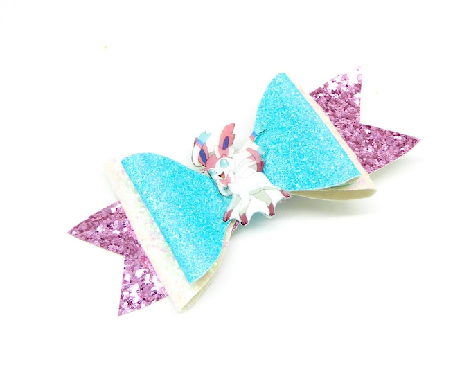 Sylveon Pokemon Glitter Hair Bow