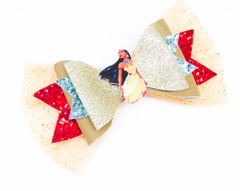 Pocahontas Movie Disney Inspired Princess Chunky Glitter and Tulle Hair Bow