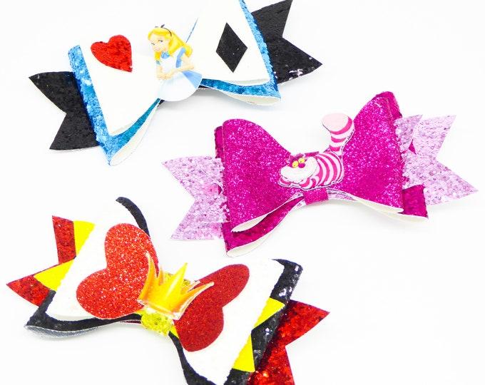 Set of 3 Alice in Wonderland Glitter Hair Bows