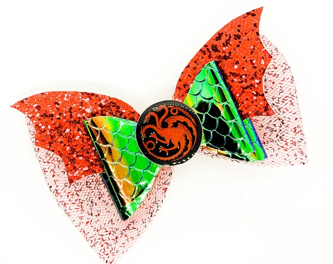 Red Dragon Wing House Targaryen Game of Thrones Inspired Chunky Glitter and Tulle Hair Bow