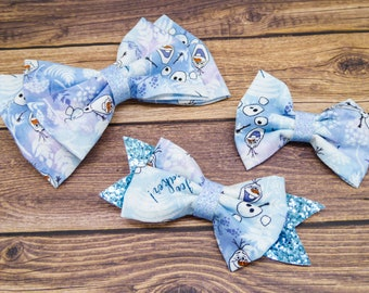 Olaf Frozen Disney Inspired Cotton Fabric Hair Bow Set