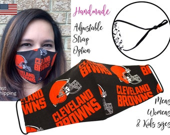 Clevelands Browns Fitted Fabric Football NFL Face Mask with adjustable ear tie, for Adult Men Women & children, handmade with filter pocket