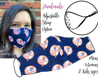 New York Yankees Fitted Fabric Baseball Face Mask with adjustable elastic tie, for Adult Men Women & children, handmade carbon filter pocket