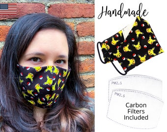 Pikachu Pokeball Coton Fabric Face Mask with elastic tie, for Adult Men Women and children, handmade and washable, carbon filter included
