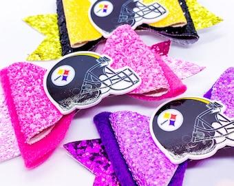 Pittsburgh Steeler NFL Footbal Inspired Glitter Hair Bow Set