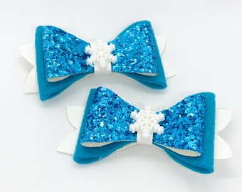 Frozen Elsa Disney Inspired Princess Glitter Hair Bow Set with Snowflakes for pigtails and piggies