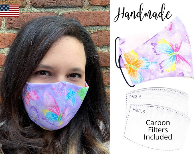 Purple Butterfly Cotton Glitter Fabric Face Mask with elastic tie for Adult Woman and children, handmade with carbon filter pocket