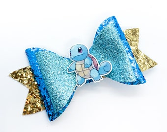 Squirtle Pokemon Nintendo Inspired Glitter Leather Hair Bow