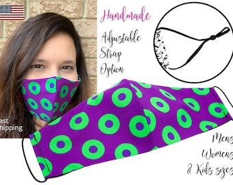 LIMITED TIME Fishman Purple Donuts Phish Fabric Face Mask with adjustable ear, for Adult Men Women & children, handmade carbon filter pocket