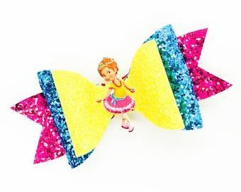 Fancy Nancy Disney Inspired Dancer Chunky Glitter Hair Bow